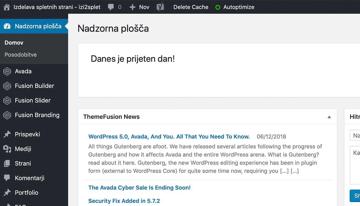 WordPress nadzorna pološča